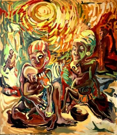 """Saatchi Art Artist Göknil Gümüş Sungurtekin; Painting, """"HORROR SERIES II ''Dearth''"""" #art"""