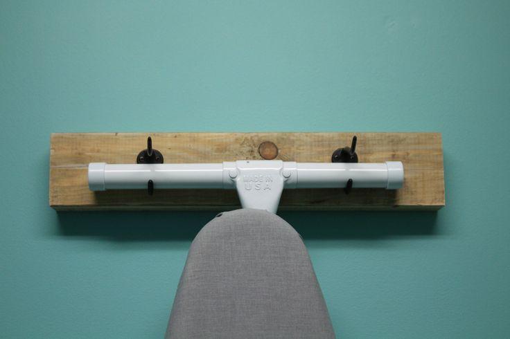 Rustic ironing board hook, wall holder by KnottyCraftsmanship on Etsy