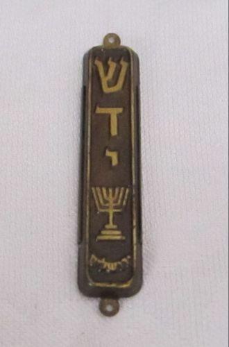 LOVELY-VINTAGE-1950S-ISRAEL-MADE-BRASS-MEZUZAH-WITH-ORIGINAL-PARCHMENT-KLAF
