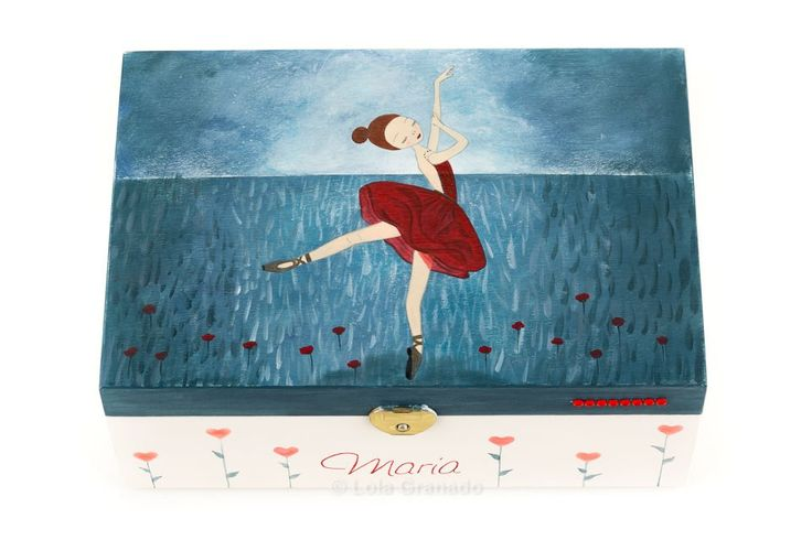 #Joyero de #madera #bailarina de #ballet vestido rojo. Pintado a mano. www.lolagranado.com