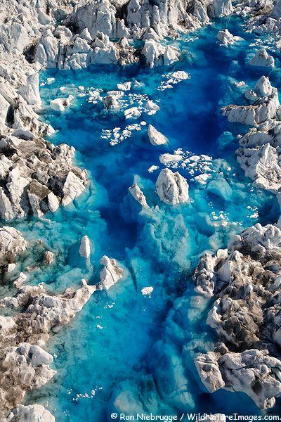 Glacier Meltwater Pool Photos, Columbia Glacier-Alaska