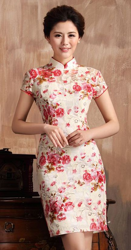 Elegant Beige Lace Chinese Qipao Dress with Red Floral Print