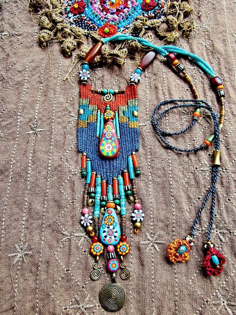 ~ Weaving mix with handmade Fimo bead Jewelry ~ | Flickr - Photo Sharing!  This is some beautiful beading!
