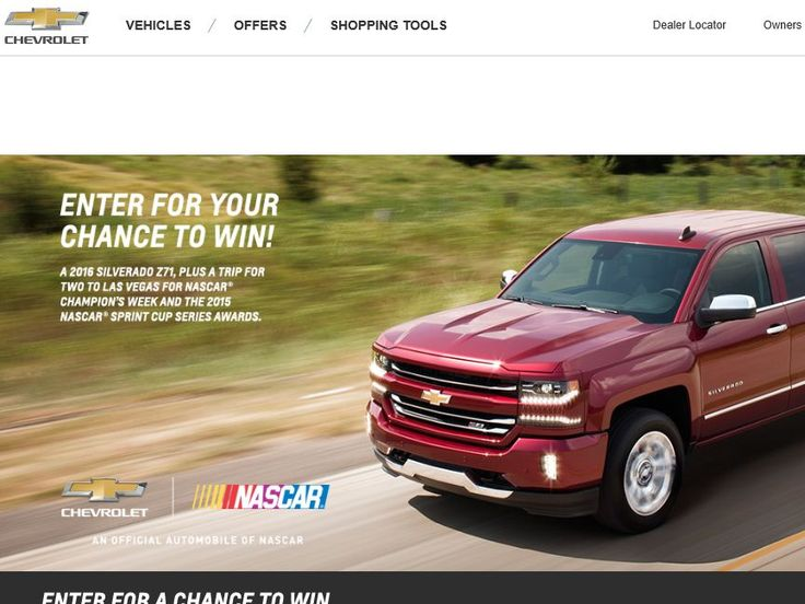 Enter the Win the Chevrolet Silverado Z71 Sweepstakes for a chance to win a 2016 Silverado Z71 and a 3-night trip for two to Las Vegas, NV!