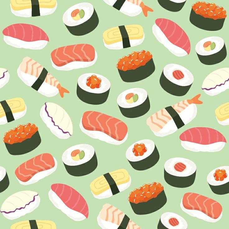 Cute Sushi Background Seamless Pattern
