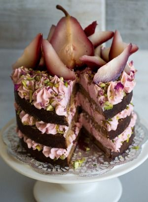 Love those layers ...  spiced caramel rose pear cake. Katherine Sabbath's spiced caramel layer cake with rosewater cream