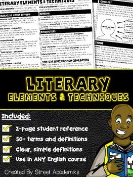 $2.50 - This is a great reference for students to use when reading short stories, during novel studies, and to refresh student memory before starting final assignments.There are over 50 elements and techniques included in this reference sheet!