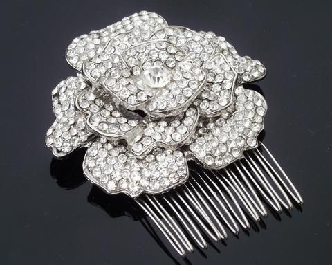 Wedding Hair Combs - Antique Style Crystal Flower Hair Comb, Floral Headpiece, Elaine