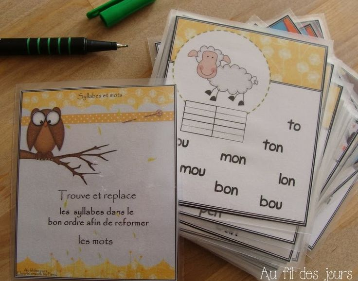 Des petites cartes fabriquées pour ma p'tite pitchounette ♥ Elle doit trouver les bonnes syllabes parmi la liste et les replacer d...