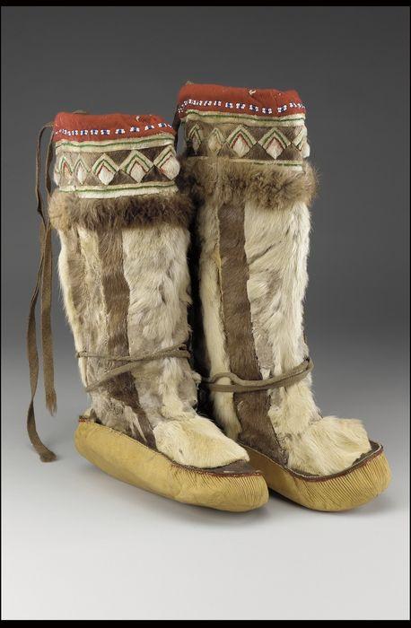 Woman's boots (Yup'ik - Yupik Eskimo), circa 1910, Caribou hide/skin, hide, wool cloth, wool yarn, glass bead/beads, and sinew.