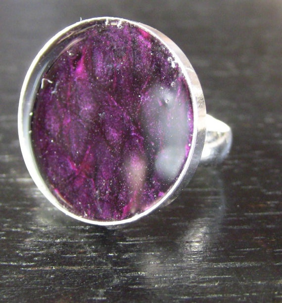 Sterling Silver Deep Fuschia Pink Fish Leather Ring by LoriDelisle, $55.00