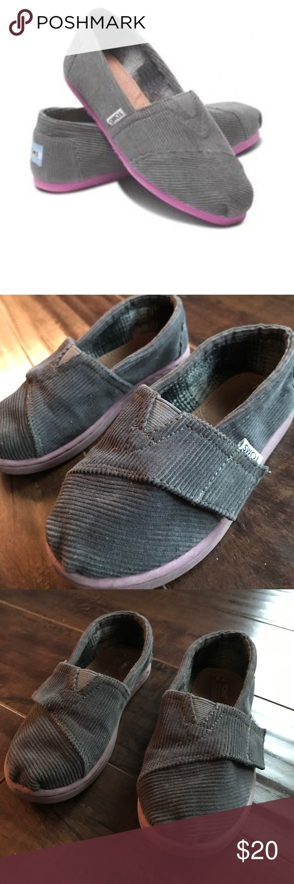 Tiny Tom's Gray & Purple Corduroy Gently loved. Plenty of wear left! Gray Corduroy with lavender colored soles. Smoke free home TOMS Shoes Sneakers