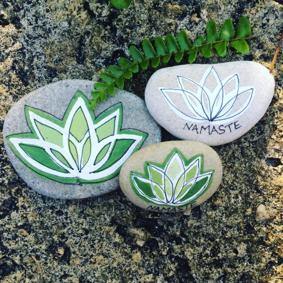 YOGA STONES...3 hand painted beach stones, home decor yoga studio namaste lotus flower, original art,rocks Christmas gifts pebbles
