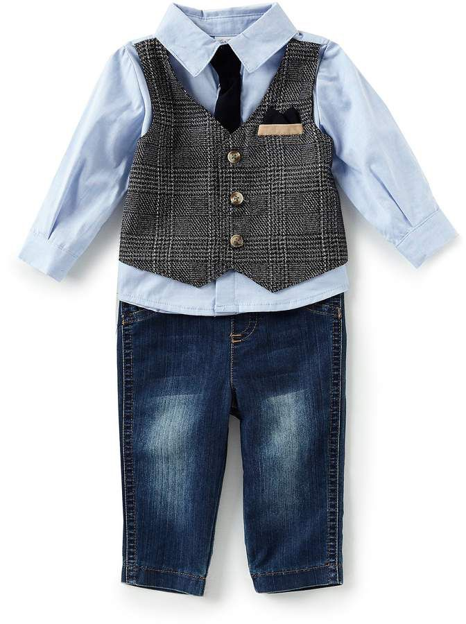 09035aab028 Edgehill Collection Baby Boys 3-24 Months Mock-Vest Dress Shirt   Denim  Pants
