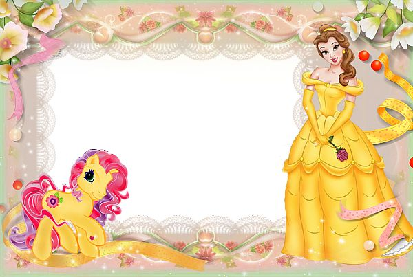 Girls Transparent Frame with Princess