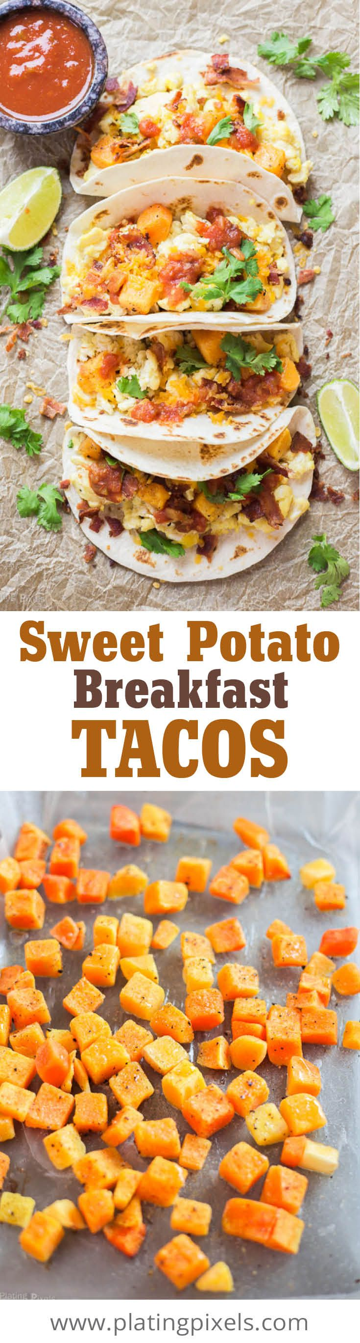 Sweet Potato Breakfast Tacos by Plating Pixels. Fluffy scrambled eggs create a lush bed for crispy bacon pieces, roasted sweet potato cubes, cheese, picante sauce and fresh cilantro in these unique fall-themed breakfast tacos. - www.platingpixels.com