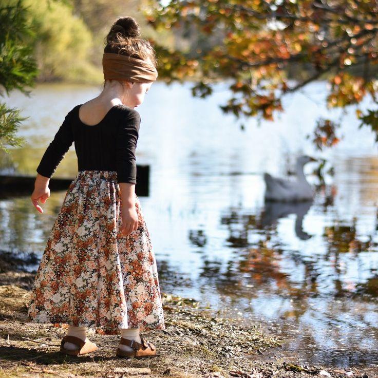 Kids Girls maxi skirt button down floral vintage look Autumn Fall
