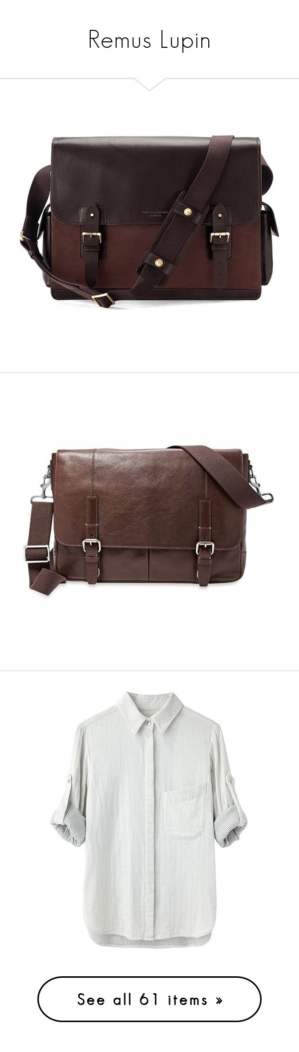 """Remus Lupin"" by aure-white ❤ liked on Polyvore featuring men's fashion, men's bags, men's messenger bags, bags, mens leather messenger bag, men, dark brown, mens laptop messenger bag, fossil mens messenger bags and mens courier bag"