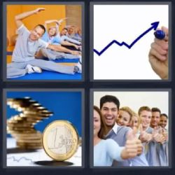 4 Fotos 1 Palabra Monedas 1 Euro, Yoga o gente estirando, personas estirando, Flecha azul marcador, Grafica, Monedas, Personas Dedo Pulgar para arriba, Gente Dedo Arriba - Solución 5 Letras