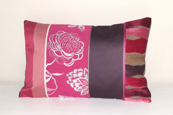 """Excited to share the latest addition to my #etsy shop: Pink Lumbar Pillow Cover, 12x18"""" Lumbar Pillow Cover, Purple Lumbar Pillow, Striped Throw Pillow Cover, Pink Cushion Cover, Floral Cushion #striped #pink #pillow http://etsy.me/2EIo6MP"""