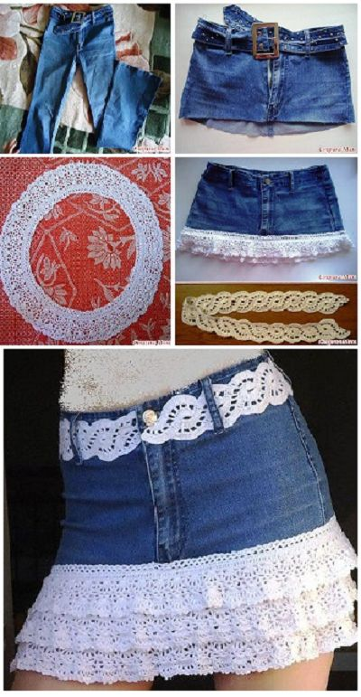DIY Crochet Denim Skirt