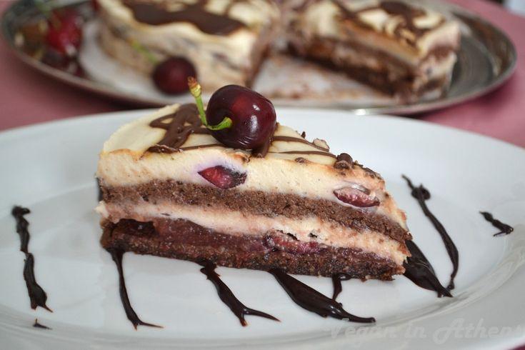 "Raw vegan ""Black Forest"" cake. #vegan #raw #glutenfree #cherries #blackforestcake"