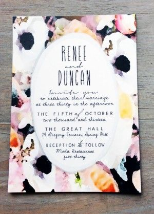 Watercolor Flower Stripes Wedding Invitations Hoopla Love2 300x418