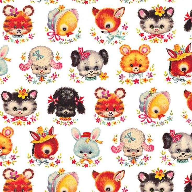 Wrapping retro animal faces