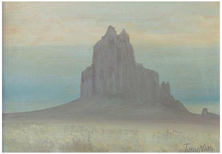 Juan Nakai (American, d. 1973), Shiprock Landscape, 1966, acrylic on paper, signed