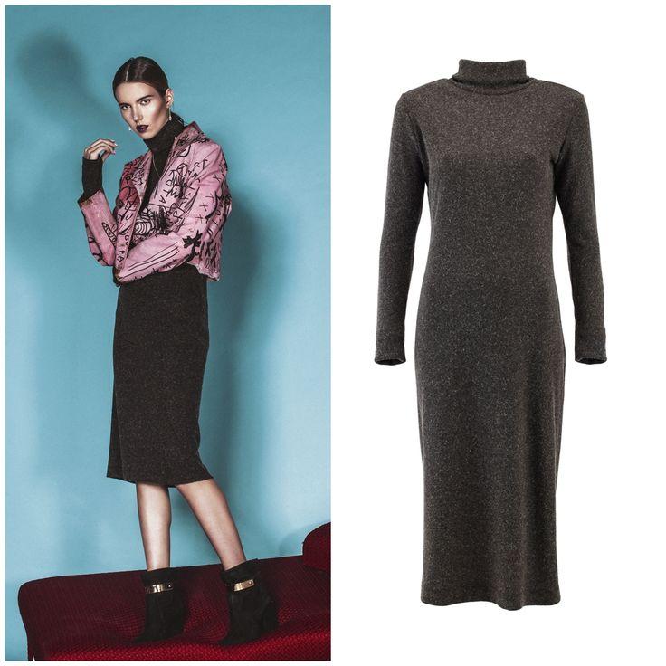 Natalia Gułkowska w naszej kobiecej sukience dzianinowej z golefm wool dress urban natural size: S-XL