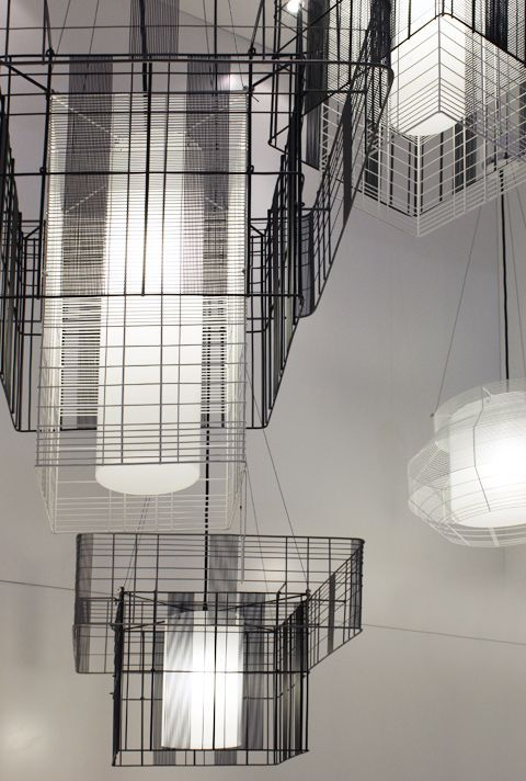"""Forestier presented the """"Mesh Cubic"""" series by Arik Levy. #maisonobjet  #lighting"""