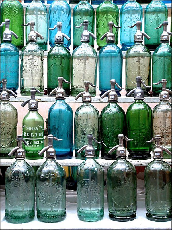 vintage bottles, blues & greens