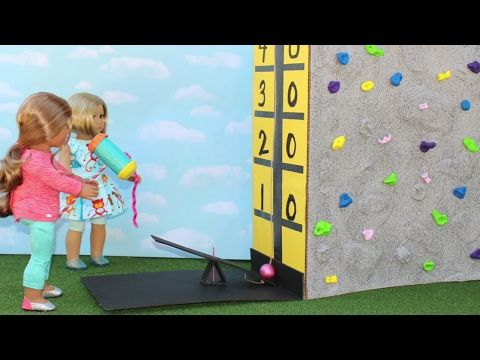 Doll Carnival Game - Test Your Strength   DIY American Girl Doll Crafts - YouTube