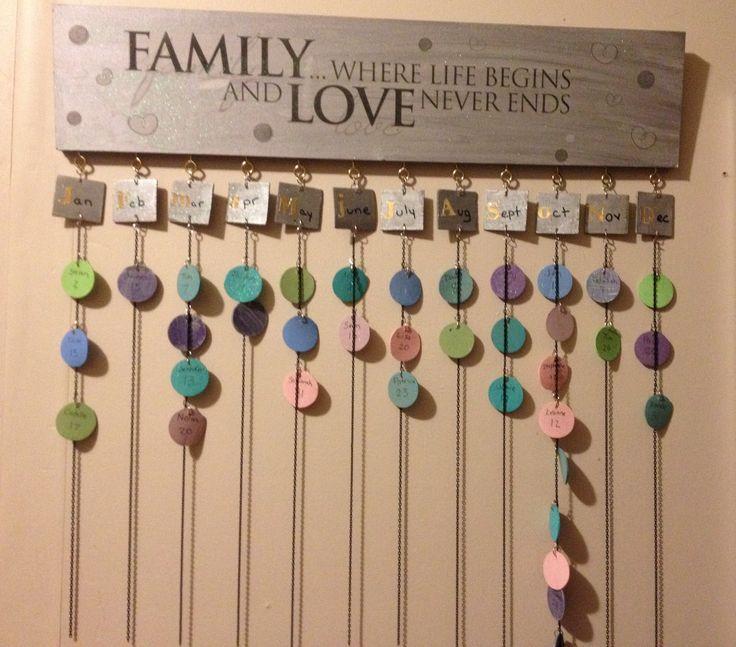 Diy Birthday Calendar Ideas : Family birthday calendar gift stuff pinterest