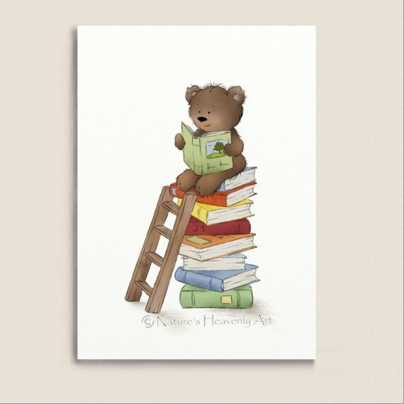 Brown Teddy Bear Reading Books Nursery Wall by NaturesHeavenlyArt, $9.00