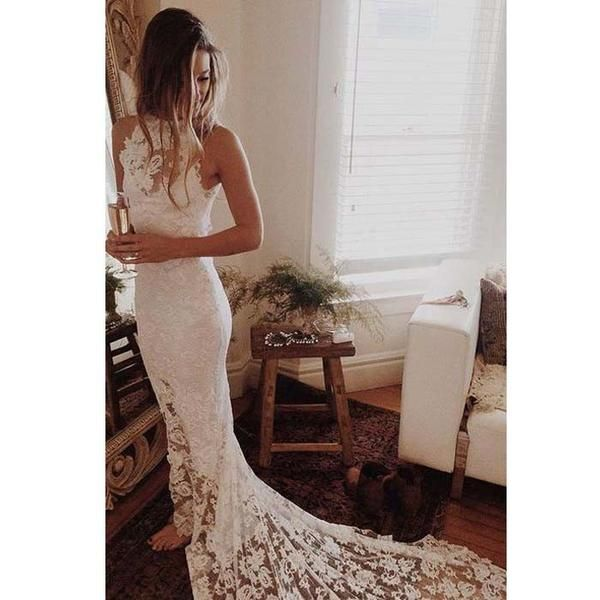 Beautiful Mermaid Lace Sexy Inexpensive Long Brides Wedding Dresses, WG658 The wedding dresses are fully lined, 4 bones in the bodice, chest pad in the bust, lace up back or zipper back are all availa