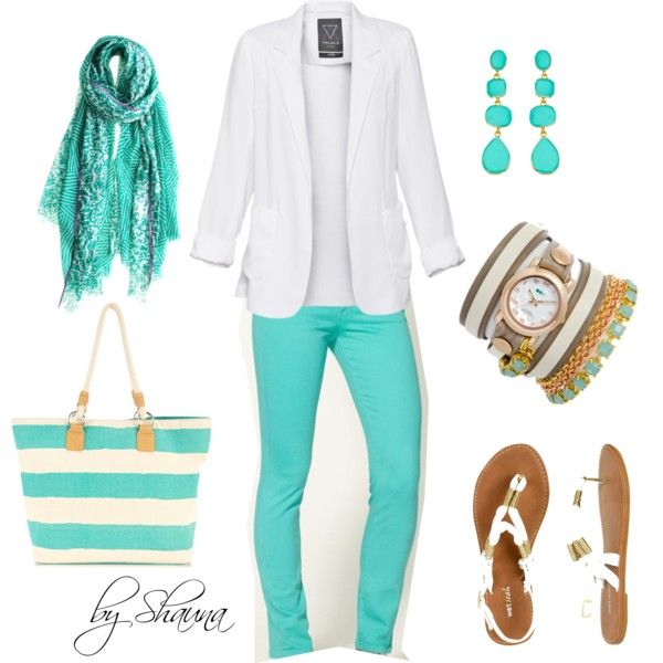 MINT MINT MINT!: Such As, Fashion, White Blazers, Colors, Tiffany Blue, Cute Outfits, Summer Outfits, Mint Jeans, Teal Jeans