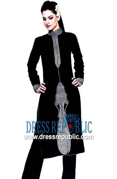 Black Dixon, Product code: DR1360, by www.dressrepublic.com - Keywords: Traditional Pakistani Shalwar Kameez Dress, Karachi Shalwar Kameez
