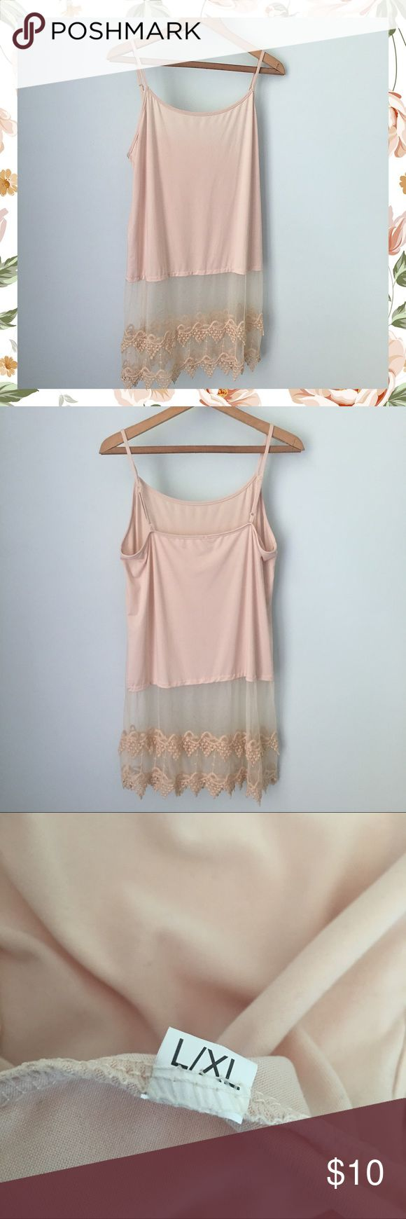 """Lace Extender Beige Cami Top - Size L/XL Lace Extender Cami Top / This is great for layering under a top to make it longer / It has adjustable straps / It is beige in color / It is a combination of cotton & polyester / Bust is 19"""" / Length is 25"""" overall / Lace part is approximately 11"""" ---- EXCELLENT condition!!! NEVER BEEN WORN! -- I bought a white one also, and have loved wearing it. Accessories"""
