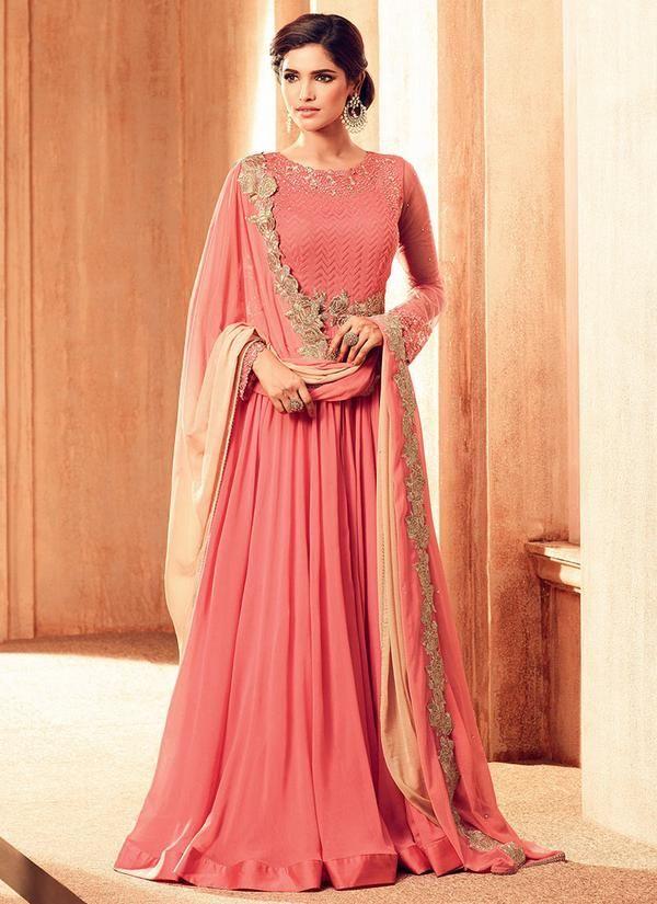 Pink Georgette Floor Length Abaya Style Suit