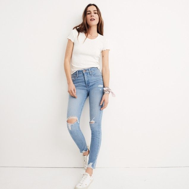 Short Curvy High-Rise Skinny Jeans in Ontario: Distressed-Hem Edition