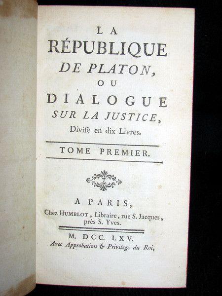 1765 Antique French Book set - La Republique de Platon - Plato Philosophy