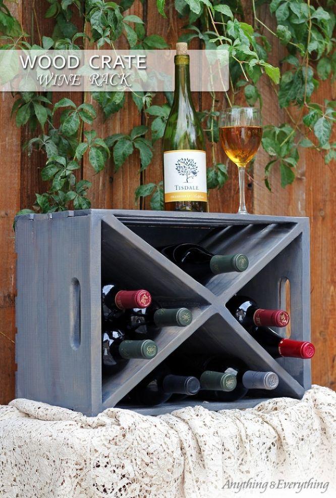 Loving this wood crate turned wine rack!
