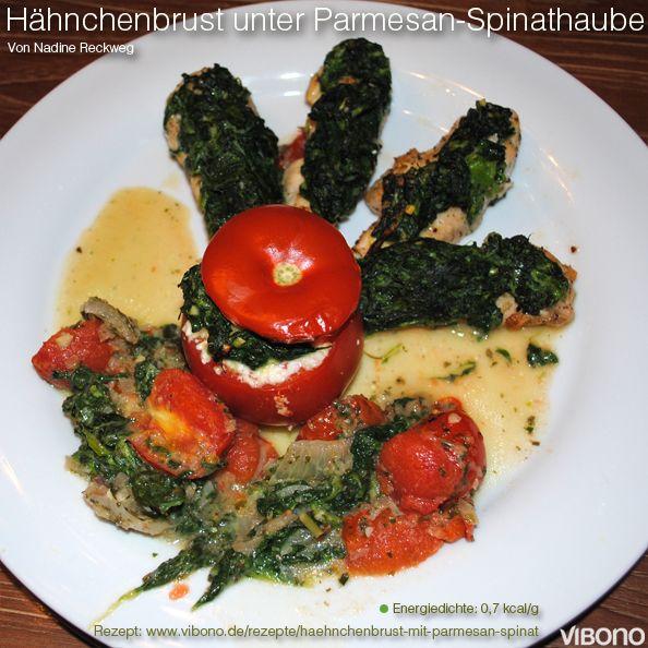 Hähnchenbrust unter Parmesan-Spinat