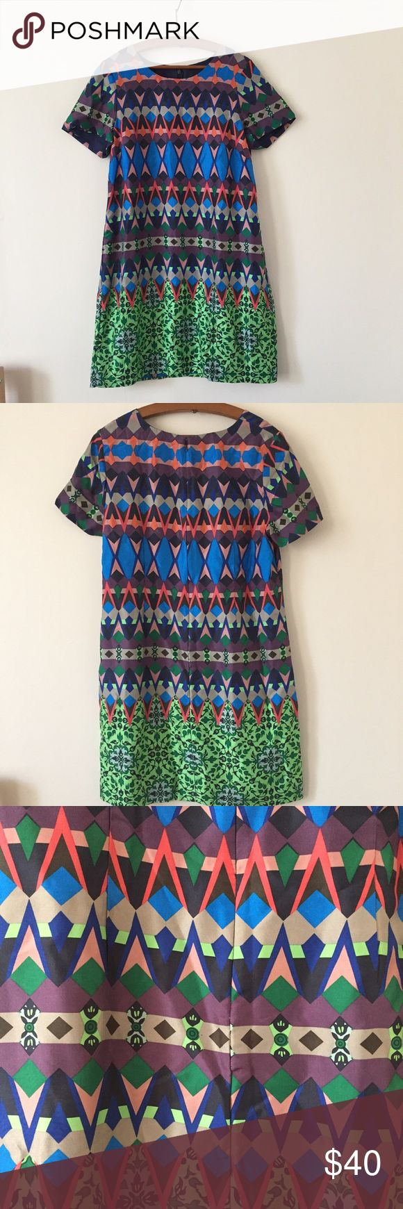 J crew geometric print 100% silk shirt dress Preworn but in excellent condition! J. Crew Dresses