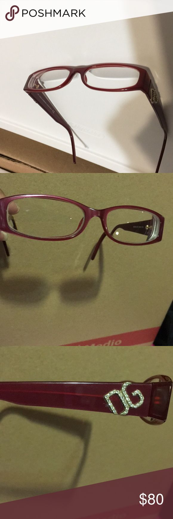 Dolce and Gabanna prescription eyeglasses Beautiful burgundy frame very stylish prescription glasses; can be replaced with your prescription by qualified professional.  Very good condition, see pics for minor scratches on frame Dolce & Gabbana Accessories Glasses