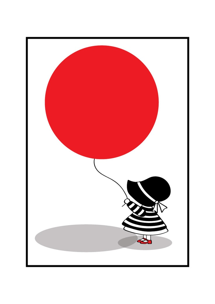 Girl  with red balloon. Graphic design illustration print.. by MUUI