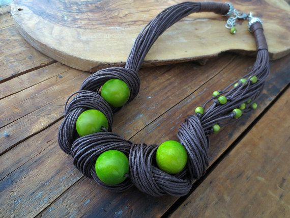 Tagua Nut Statement Necklace, Linen Necklace, Light Green Tagua Nut Beads, Linen…