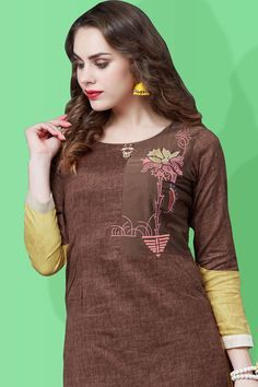 Picture of Palatial brown & gold designer kurti