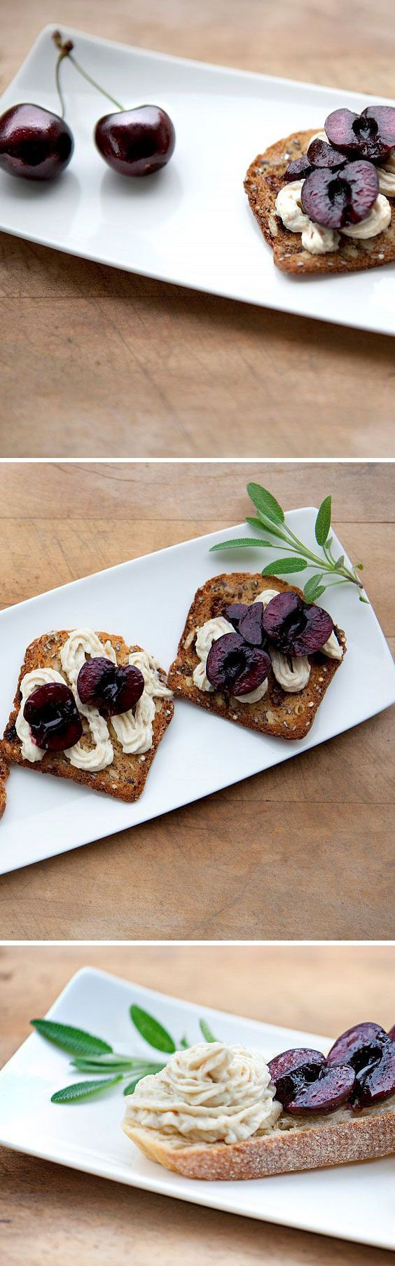 Crostini with Balsamic Cherries and Smoked Cheddar Spread | An easy way to impress and satisfy guests with sweet BC Tree Fruits cherries.